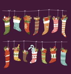 Christmas socks santa xmas new year gift vector