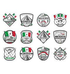 Cinco de mayo mexican retro sketch icons vector