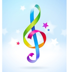 Colored ribbons in the shape of treble clef vector image