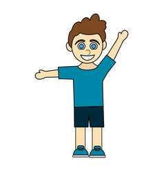 Colorful caricature curly hair boy with open arms vector