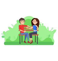 couple sitting on bench romantic pair dating vector image