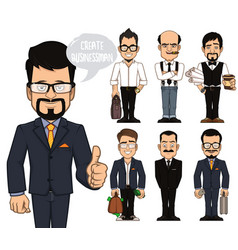 Create businessman characters vector
