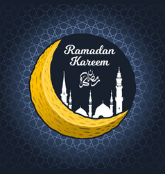 crescent moon with ramadan kareem and mosque vector image
