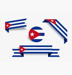 Cuban flag stickers and labels vector