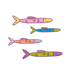 cute sea fishes icon vector image