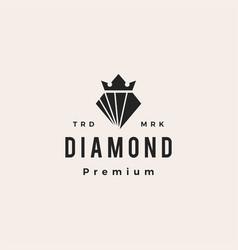 diamond king crown hipster vintage logo icon vector image