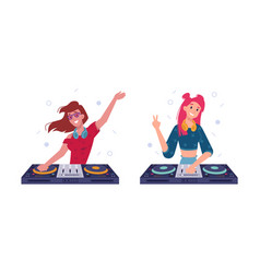 Dj girls play music in headphones spin turntable vector
