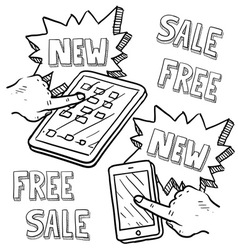 doodle iphoneish ipadish sale new free vector image
