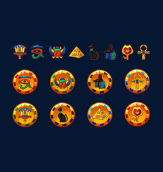 egypt golden coins and set icons isolated vector image