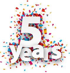 Five years paper confetti sign vector image