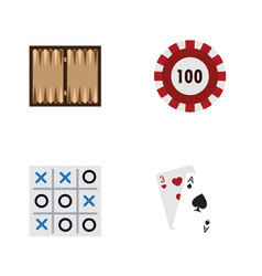 flat icon games set of x-o ace dice and other vector image