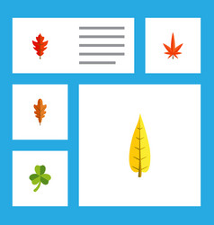 flat icon maple set of linden aspen frond and vector image