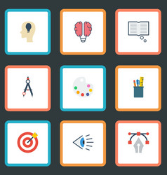 Flat icons case arrow idea and other vector