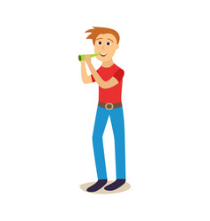 flat young man drinking beer from bottle vector image vector image