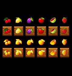 fruits slots icon set on wooden square game vector image