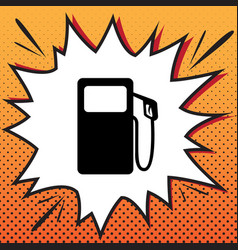 Gas pump sign comics style icon on pop vector