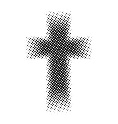 Halftone christian cross vector