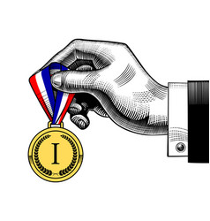 Hand holding an award medal with blue white red vector