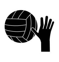 Hand volleyball ball sport pictogram vector