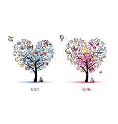 Heart shaped trees design for baby boy and girl vector image