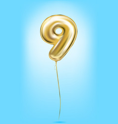 high quality image of gold balloons digit 9 nine vector image