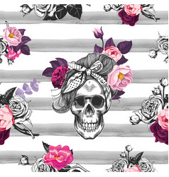 Hipster seamless pattern with skull silhouettes vector