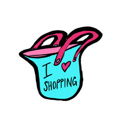 i love shopping sign with bag badge concept of vector image