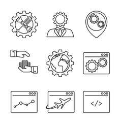 internet marketing line icons vector image