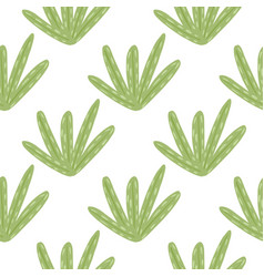 Isolated botanic seamless pattern with green leaf vector