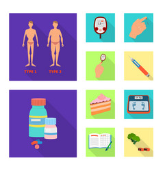 Isolated object of symptom and disease icon set vector