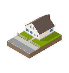 isometric suburban beige house vector image