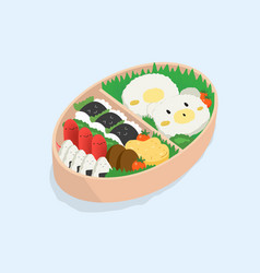 Japanese lunch box bento funny cartoon food vector