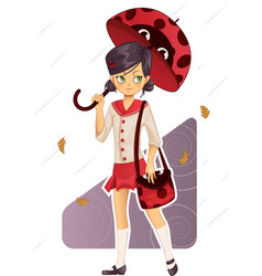 Ladybug umbrella vector