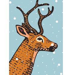 merry christmas banner deer or doe new year vector image