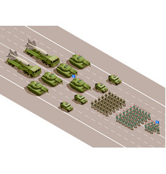 Military parade isometric composition vector