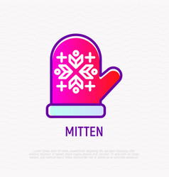 mitten with ornament thin line icon vector image