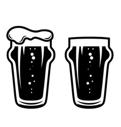 mug beer in engraving style design element vector image