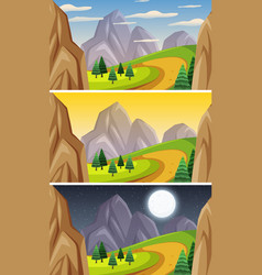 Nature landscape scene at different times day vector