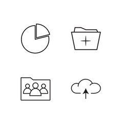 Office outline icons set vector