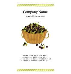 Olive basket card vector