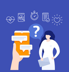 online medical consultation chat with doctor vector image