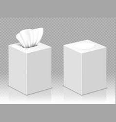 Open and closed box with white paper napkins vector