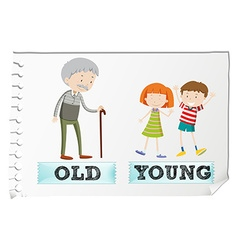 Opposite adjectives with old and young vector