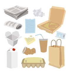 paper trash icon set garbage recycle concept vector image