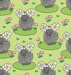 Pattern with sheep and flowers vector
