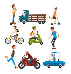 People on street set various vehicles cartoon vector