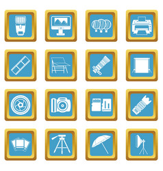 Photo studio icons azure vector