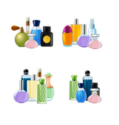 piles of perfume bottles set vector image