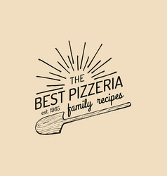 Pizza logo family pizzeria emblem icon vector