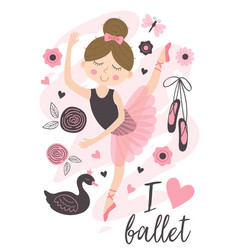Poster with beautiful ballerina girl vector